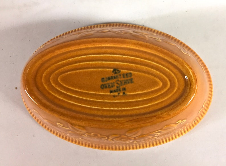 Vintage Homer Laughlin Pumpkin Oven Serve Small Oval Baker and Dessert Sauce Berry Bowl Replacement