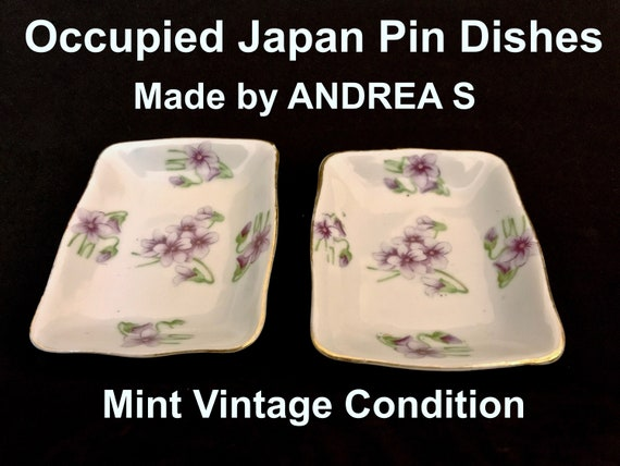 Occupied Japan ANDREA Floral Violet Pin Ring Trink