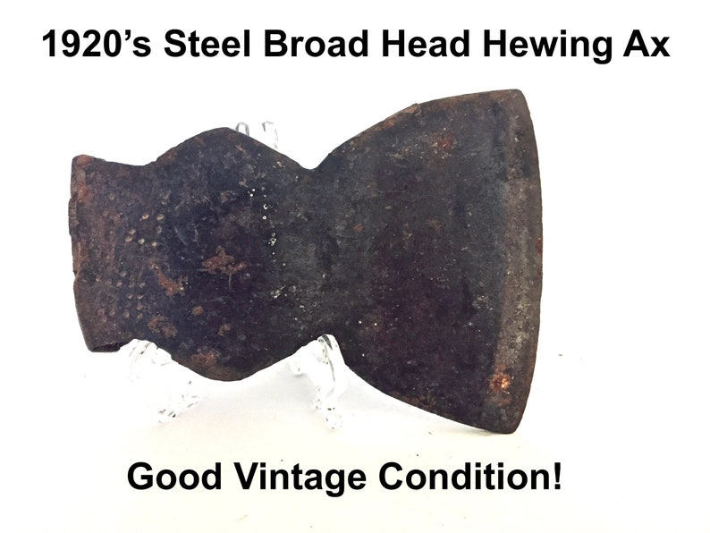 Vintage Broad Head Hewing Hatchet Ax Axe Primitive Farm Tool Rustic Cast Steel Man Cave Collectible Stamped Logging Woodsman