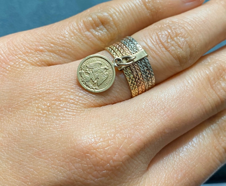 10k Tricolor Gold Diamond Cut 7 Day Rings Semanario with Gold Coin Size #5