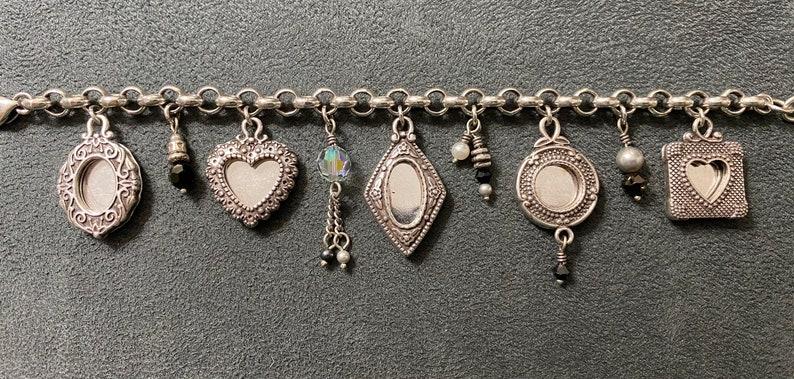 Brighton Collectibles Silvertone Reversible Keepsake Memory Photo Holder Charms Bracelet 8\u201d