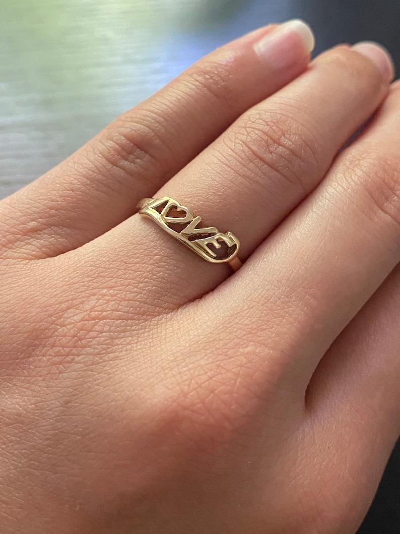 14k Yellow Gold \u201cLOVE\u201d Ring Size #6.25