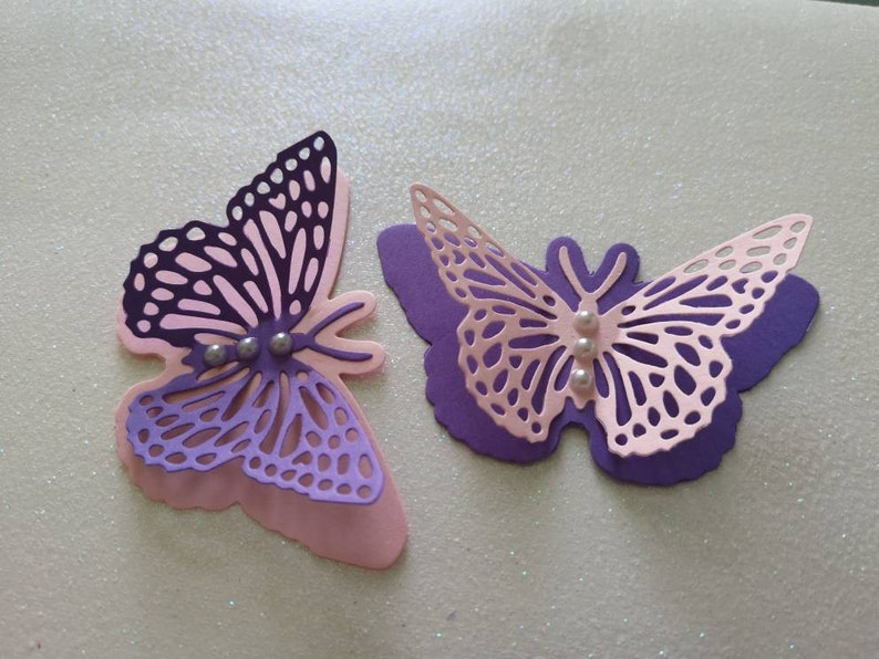 Paper butterflies table decorations christening wedding birthday fairy tale bridal shower baby shower christening baptism purple and pink