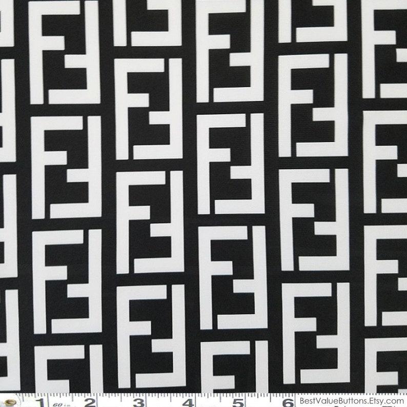 a91b964e3 Spandex Fabric Fendi Black White FF Designer Inspired Fabric   Etsy