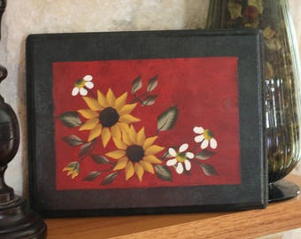 Country Sunflower Painting on Wood Plaque