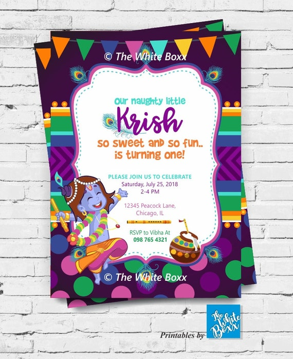 Krishna Hindu God Themed Birthday Invite Invitation Card Printable For Baby Boy Any Age
