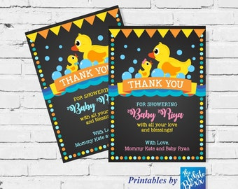 Rubber Duck (Ducky) Baby Shower Thank You Card