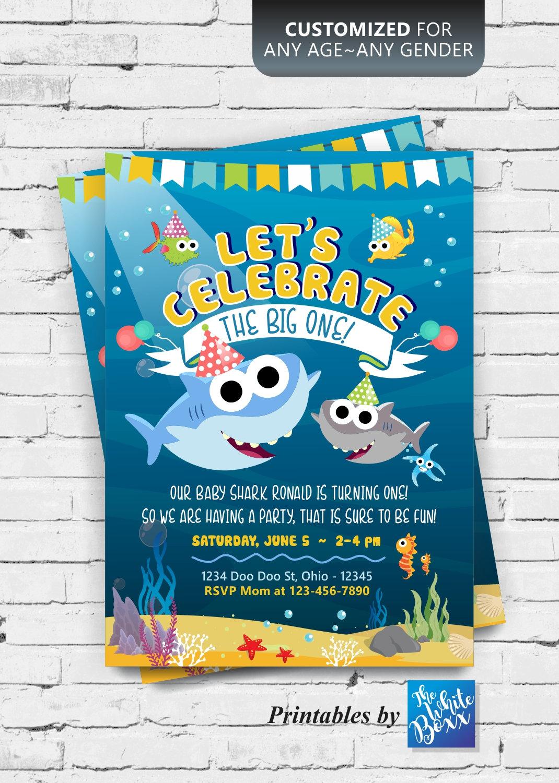 Baby Shark Invitation Baby Shark Birthday Invitation For