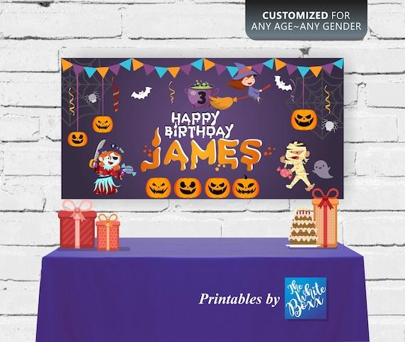 Any age Halloween Birthday Backdrop  Banner for birthday Boy  Girl  Twins