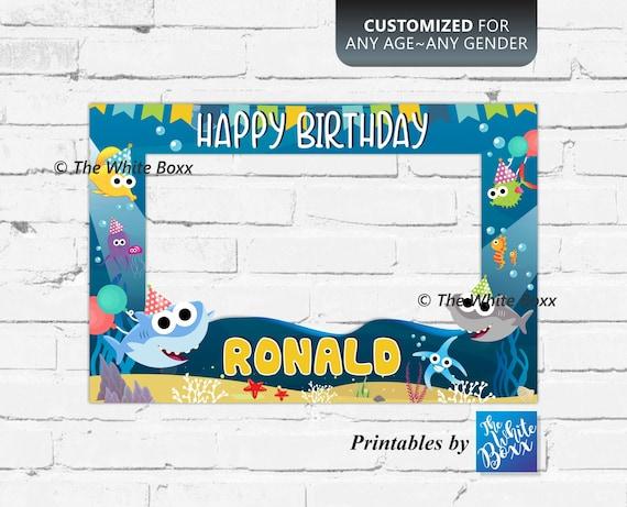 Baby Shark Photo Booth Frame Birthday Props Birthday Signs | Etsy