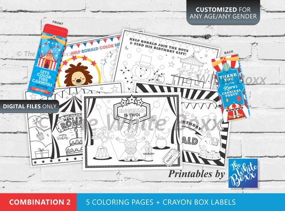 Carnival Theme Circus Theme Coloring Pages Party Favors Etsy