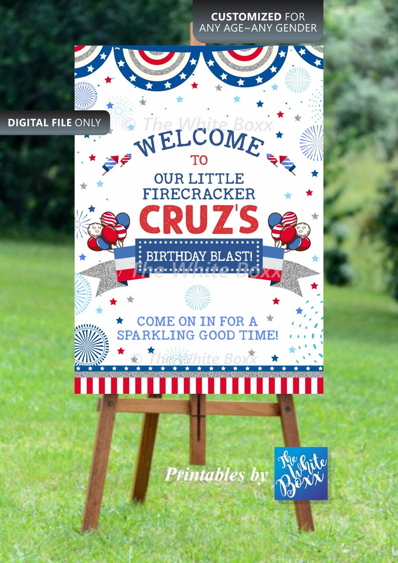 Independence Day  4th of July Birthday Welcome Sign  Banner  Poster for Birthday Boy  Girl or Baby Shower
