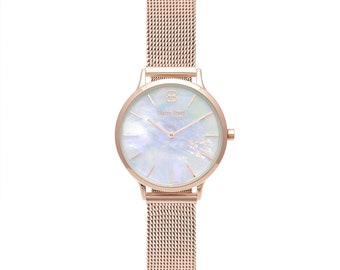 f515eb3f91c Byron Bond Mark 5 Fulham - Luxury 32mm Wrist Watches for Women - Rose Gold  Case With Pearl Dial and Rose Gold Mesh Strap