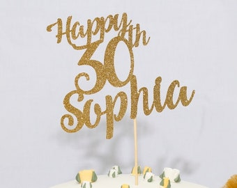 Personalised Name and Age Birthday Cake Topper. 20th, 30th, 40th, 50th, 60th, 70th, 80th, 90th, 100th.