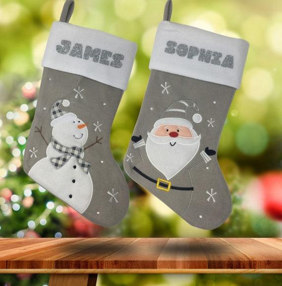 Personnalisé Brodé Cadeau de Noël Stocking Luxe Toy Santa Sac Argent