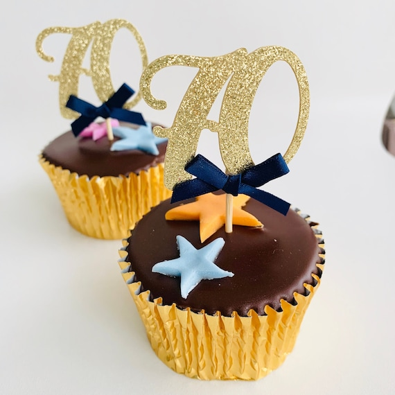 40th 80th 30th any age Birthday party decorations 12 gold glitter 70th 90th Personalised Age number 12 x Any age cupcake topper 60th 50th