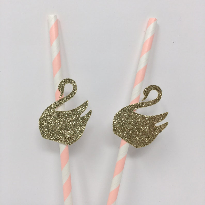 Paper Straws SWANS Pack of 12 Birthday Party