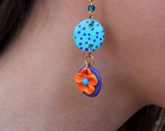 Polka Dots and Flower Handcrafted Polymer Clay Earrings