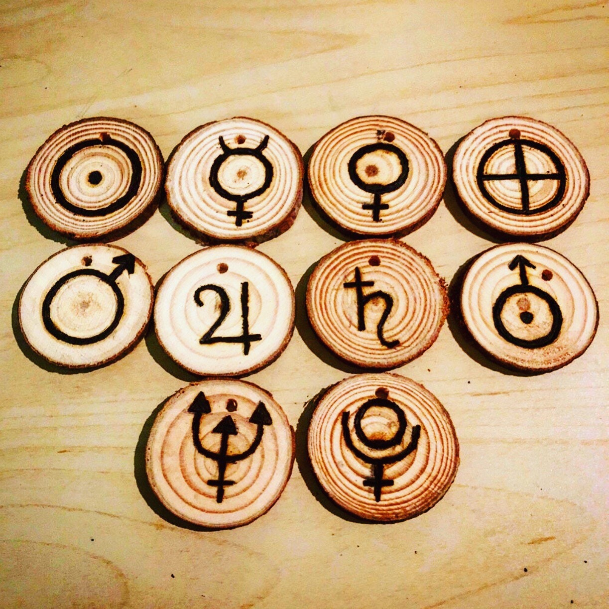 Astrological Planet Symbols Full Set Of 10 Pine Wood Etsy