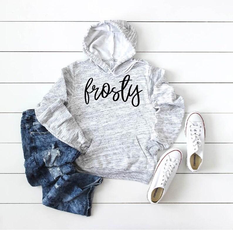 Frosty Winter Holiday Sweatshirt  Holiday Hoodie  Holiday Sweater  Women/'s Hoodie  Women/'s Holiday Sweatshirt  Warm Sweatshirt