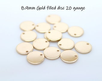 Gold disc 20 Gauge Gold Filled Round Disc Metal Stamping Blank Tag 20 ga, g 8.9mm, 14k gold filled disc Yellow GF With Hole Round Blank 3/8