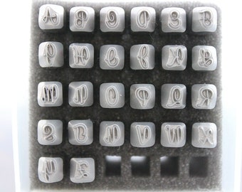 Detash/ Used  Sweetheart Script Cursive UPPERCASE 4mm Alphabet metal stamp  - Stamps for metal jewelry stamping - Open Box
