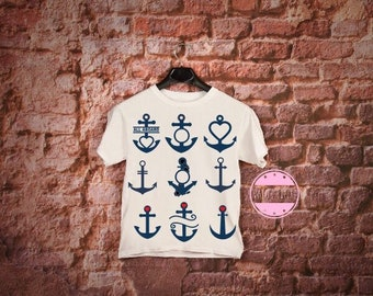 Nautical Boat Anchor Monogram Shirt or Tank