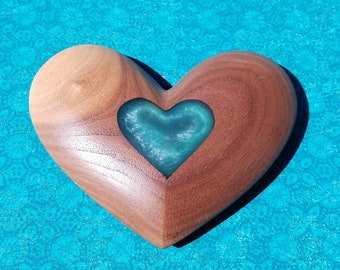 Wood Heart Art Home Decor Walnut with Blue Resin Inlay