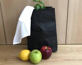 Noir sac de rangement, panier, panier, corbeille à papier, sac en papier, papier sac cadeau, éco-sac, sac en papier réutilisable, sac à Lunch