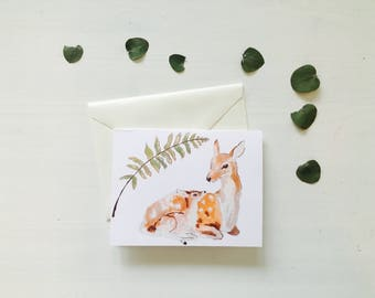 Deer and fawn greeting card