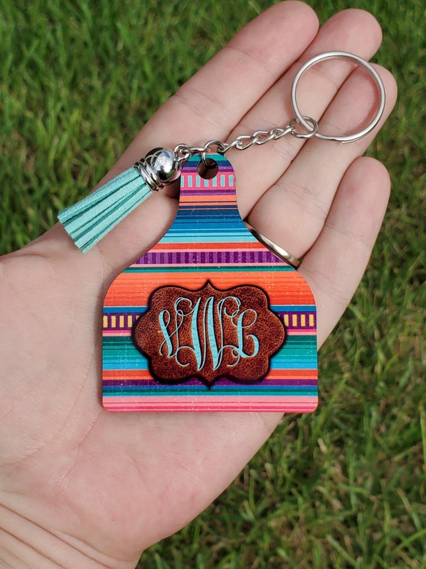 Personalized Cow Ear Tag Keychain, Pink Serape, Rosado, Monogram, Cattle livestock, Serape Keychain, Branded Leather, Stocking Stuffer, gift