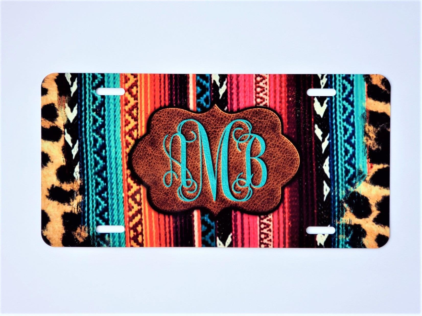 Personalized Front License Plate, Monogram Custom License Plate, Leopard Print, Mexican Serape Blanket, Branded Leather, Custom Vanity Plate