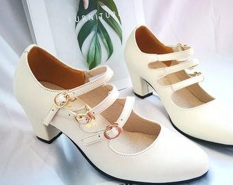 Customizable Handmade Women Beige Leather Sandals,6.5cm heels shoes,female Straps Heels,Mary Jane Shoes,Heel Sandals