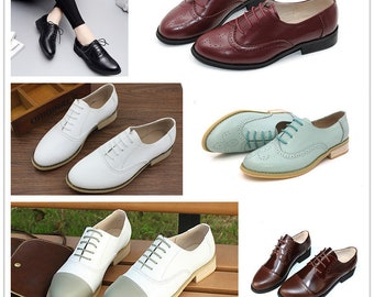 Customizable Women's Brock Shoes,British Retro White Shoes Wedding Shoes Handmade Leather Lace up Large Size Shoes Small size Couple shoes