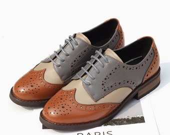 Closed Shoes Women Leather Shoes Painted Leather Shoes Oxford Shoes Handmade, Brown Shoes Leather Oxfords