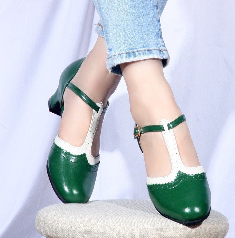 1960s Style Clothing & 60s Fashion Customizable Handmade Women Green Leather Heel ShoesRetro Style square heels shoesfemale T-Strap HeelsOxford Pump ShoesMary Jane Shoes $89.00 AT vintagedancer.com