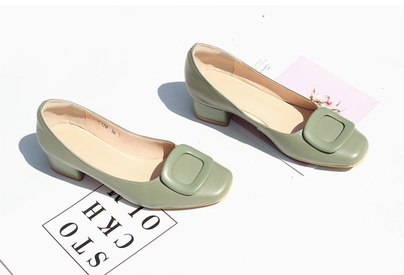 Retro Vintage Flats and Low Heel Shoes Genuine Leather 4cm Low Heel ShoesWomens Leather ShoesSquare Head Thick Heel ShoesComfortable Work ShoesGreen Slip-onsBrown Shoes $79.00 AT vintagedancer.com