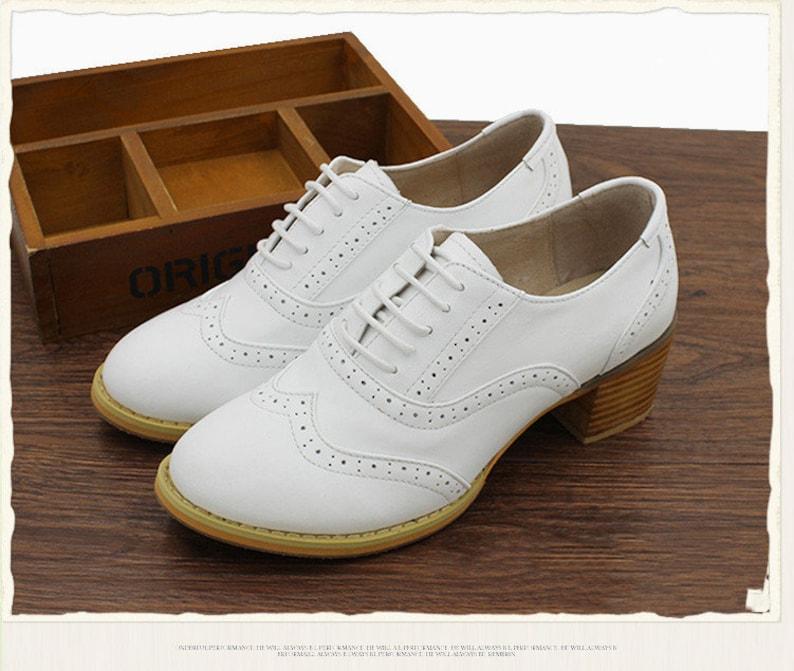 1930s Shoes – Art Deco Shoes, Heels, Boots, Sandals Women Leather Shoes Leather 5cm Heel Oxfords Shoes Closed Shoes White Shoes Handmade ShoesBrock Shoescustomized shoes $109.00 AT vintagedancer.com