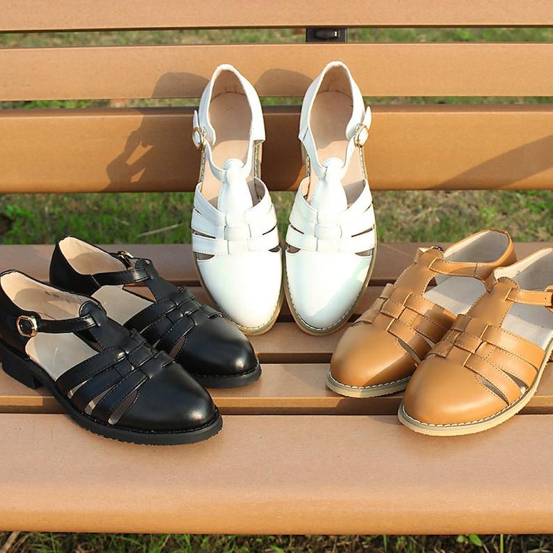 1950s Style Clothing & Fashion Customizable Women SandalsHandmade Women Flat Leather Straps SandalsComfortable sandalsfemale T-Strap ShoesOxford ShoesMary Jane Shoes $89.00 AT vintagedancer.com