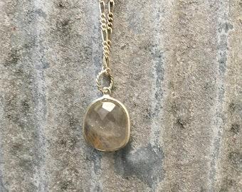 Quartz necklace. Rulitated Quartz necklace, Golden Quartz necklace, translucent quartz, silver plate bezel, figero chain