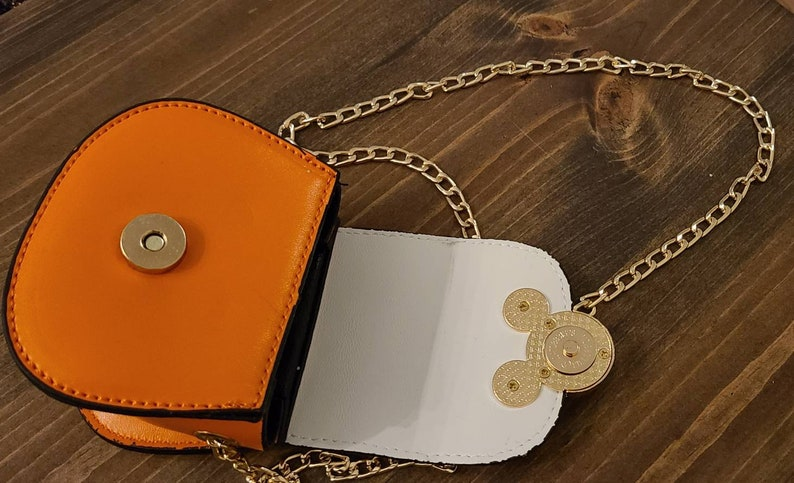 Fashion Leather Inspired Mouse Ears Mini Half Sequin Toddler Crossbody Handbag with Metal Chain.