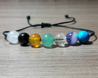 Chakra bracelet, Friendship bracelet, adjustable bracelet, simple bracelet, mens bracelet, womens bracelet, Black Tourmaline, Protection