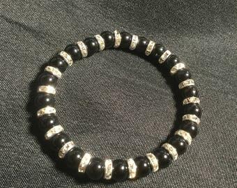 Black Onyx & Swarovski Crystal Bracelet