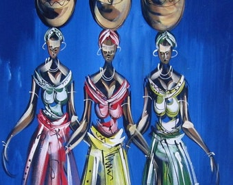 "Original Ghanaian Canvas Painting - ""Power"""