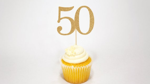 50th Birthday Cupcake Toppers Decor Fifty