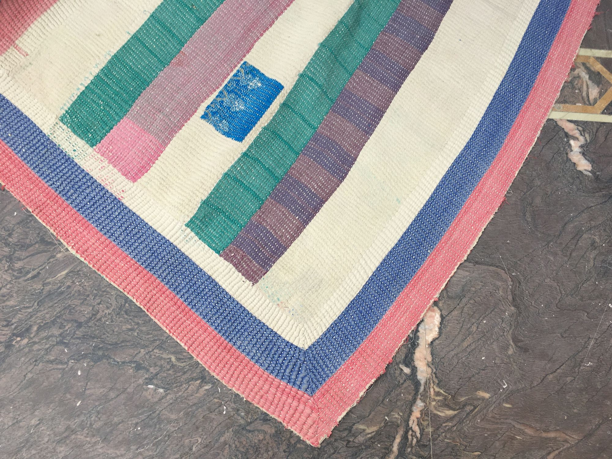 Indian Sari Patchwork Kantha Quilt Multi Colorful Kantha Blanket Reversible Cotton Sari Kantha Throw Striped Design Kantha Bedspread
