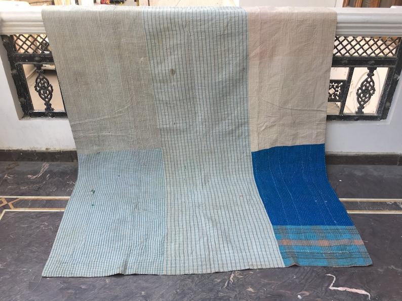 Beautiful and unique Handmade Reversible Cotton kantha quilt Bedroom Gudari Old Bedding Vintage Kantha Quilt Indian Sari Bohemian Throw