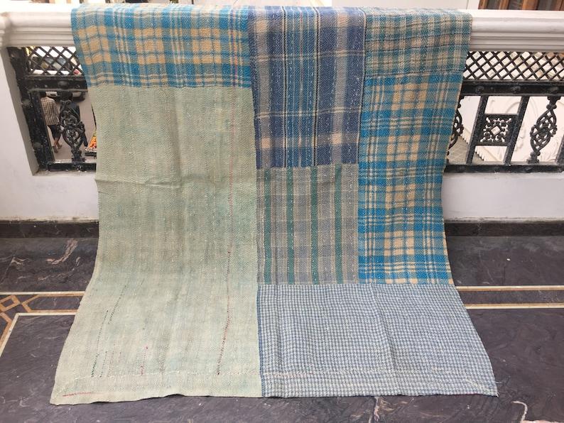 Twin Size Cotton Kantha Throw Vintage Handmade Patchwork Kantha Quilt Indian Reversible Blanket