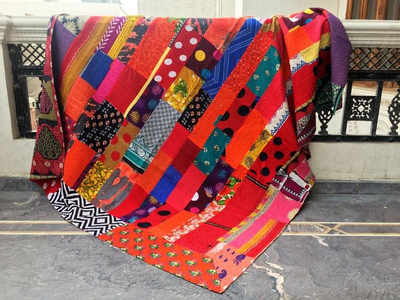Indian Sari Patchwork Kantha Quilt Multi Colorful Kantha Blanket Reversible Cotton Sari Kantha Throw Striped Design Kantha Bedspread