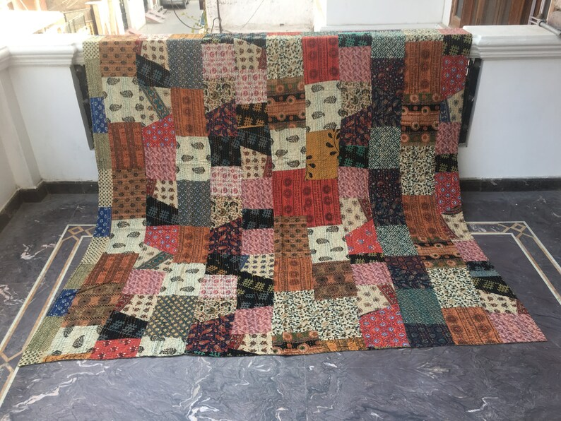 Hand Block Print Kantha Quilt Patchwork kantha Bed Cover Indian Blanket Throw